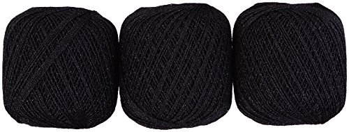Lame lace yarn # 30 Col.3 black series 20 g 137 m 3 ball set by Yokota