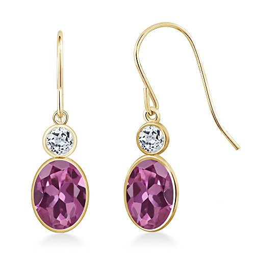 Gem Stone King 1.68 Ct Oval Pink Tourmaline AA White Topaz 14K Yellow Gold Earrings ()