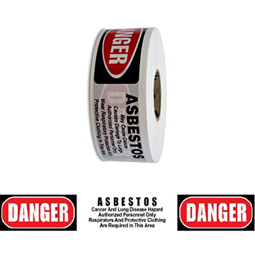 (Barricade Tape - Danger Asbestos Hazard - White/Red/Black 3 in x 1000 ft Non Adhesive 2 mil (8 Roll Case))