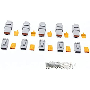 CNKF 10 Sets DTM gray PLUG 3 position way male female auto connector DTM06-3S DTM04-3P with terminals pins