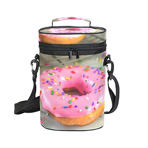 Wine Bag Pink Frosted Donut 2 Red Wine Travel Bag Insulated Wine Tote Carrier Cooler Bags with Handle and Adjustable Shoulder Strap