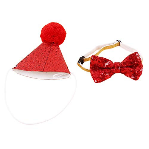 HENGSONG Homemade Cat Dog Bow Headgear Hat Birthday Costume Festive Party Dress Up,Red