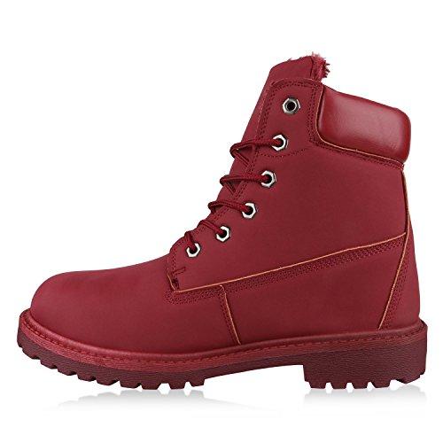 Stiefelparadies Herren Worker Boots Outdoor Schuhe Warm Gefütterte Stiefeletten Flandell Rot