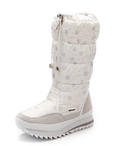 Low Front Floral Zipper Cute Mid Shoes Round Heels Platform Aisun Toe Women's Warm Boots Snowflake Calf Dress Snow White wPzvExtSqE