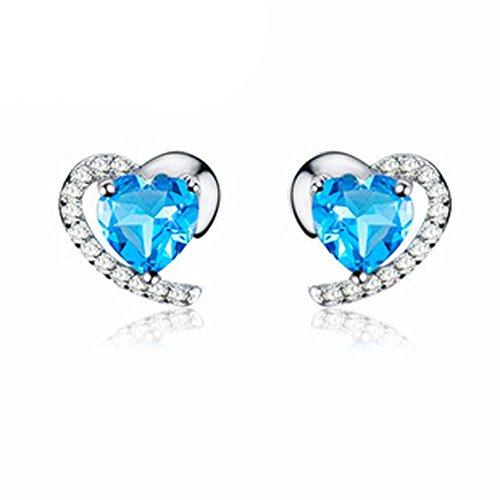 findout en argent sterling Améthyste Blue Crystal Coeur cubique zircons Set Boucle d'oreille et collier pendentif / bracelet en argent (f1682)