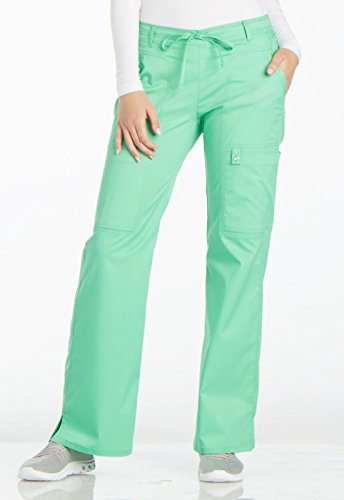 (Luxe By Cherokee Women's Flare Leg Drawstring Scrub Pant Small Spectra Green)