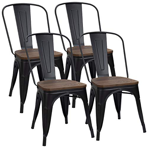 Furmax Black Metal Dining Chair with Wood Seat,Indoor-Outdoor Use Stackable Chic Dining Bistro Cafe Side Metal Chairs (Set of 4)