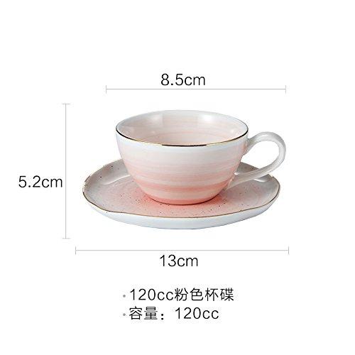 - xing lin Coffee Mugs Espresso Coffee Trumpet Household Single Tea Cup 120Ml Mini Saucer With Spoon Ceramic Saucer, Pink 120Cc