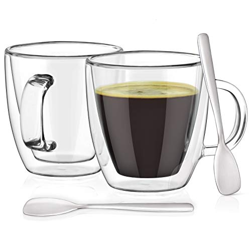 - Espresso Cups with Espresso Paddles (SET OF 2). Fits all Nespresso Machines. 5.4 oz Espresso Glasses. Insulated Double Wall Thermo Mugs by Dewstone