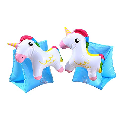JSHOTS Swimming Armband Inflatable Arm Bands Swimming Supplies Float Tube Armlets for Kids Toddlers Age 3+ Years Old (Unicorn)