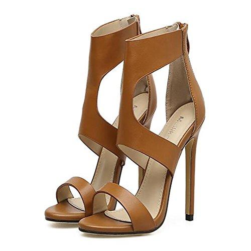 de para banquete altos cuero Brown Sandalias GAOLIXIA Señoras de boda Nuevas sintético marrón de tacones negro Verano el de botas moda claro Light Primavera Ct6Iq