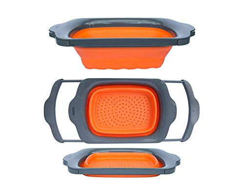 Collapsible Kitchen Colander - Over the Sink Kitchen Strainer By Comfify | 6-quart Capacity | Orange & Grey