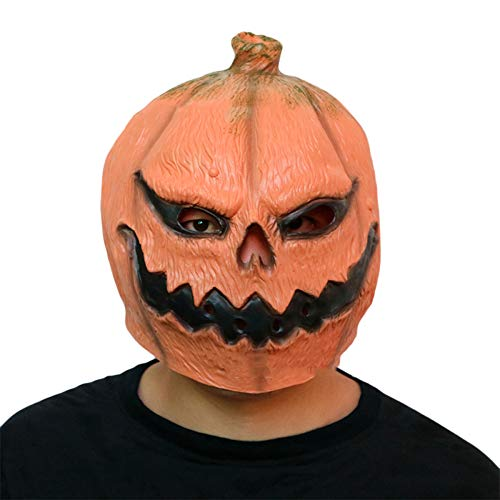 Halloween Pumpkin Head Mask Horror Funny Face Latex Dance Party Dress Plays Decorations Cos Ghost Festival Props ()