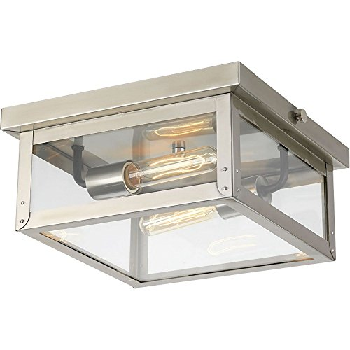 Progress Lighting P550007-135 Union Square Two-Light Flush Mount, Stainless Steel