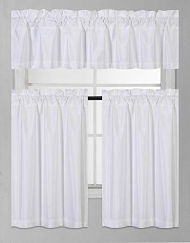 Eagle Home Store 3 PC Ruffle Window Tiers and Valance Set for Bathroom Kitchen, 3