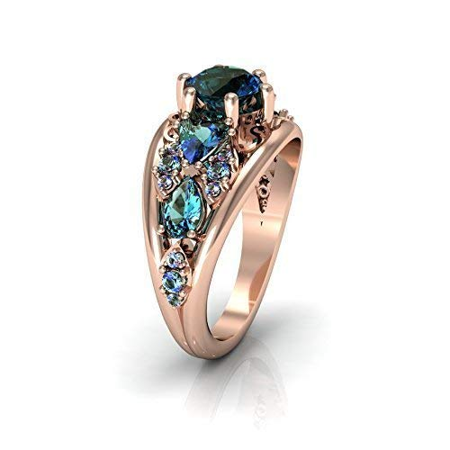 QUEEN - 14k Rose Gold Antique Engagement/Wedding Ring with Alexandrite stones (14k Created Alexandrite Ring)