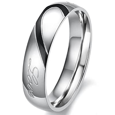"JewelryWe Lover's Heart Shape Stainless Steel Promise Ring ""Real Love"" Mens Engagement Wedding Bands (Men's Ring)"