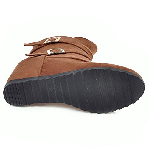 Brown COOLCEPT Keilabsatz Stiefel Mode Damen nnIqTO