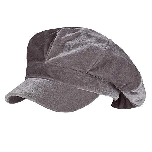 - Annlaite Women's Velvet Beret Cap Winter Warm 8 Panel Newsboy Hat Cabbie Hat Size 22