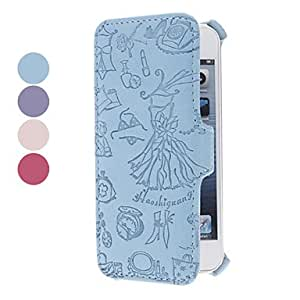 Evening Dress Embossed Clamshell Design PU Full Body Case for iPhone 5/5S (Assorted Colors) --- COLOR:Pink
