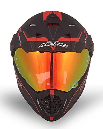NENKI Dual Sport Helmet Full Face Motocross & Motorcycle Helmets Dot Approved Iridium Red Visor Attached Clear Visor NK-310 (XL, Matt Black & Red) by NENKI (Image #2)