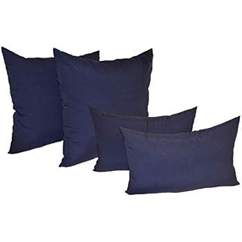 this item set of 4 indoor outdoor pillows 2 square pillows 2 rectangle lumbar decorative throw pillows solid navy blue fabric 17 x 17 square - Decorative Throw Pillows
