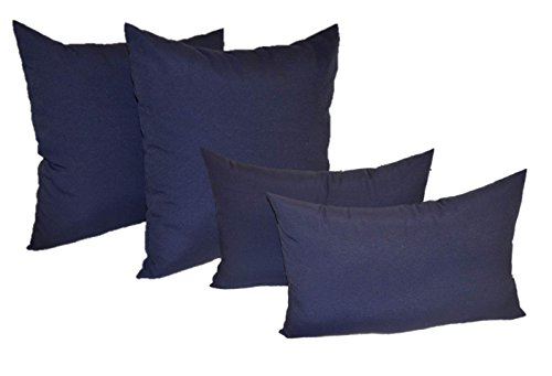 Set of 4 Indoor / Outdoor Pillows - 2 Square Pillows & 2 Rectangle / Lumbar Decorative Throw Pillows - Solid Navy Blue Fabric (20'' x 20'' square & 11'' x 19'' lumbar) by Resort Spa Home