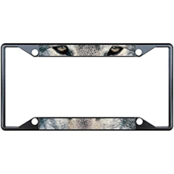 wolf animal eyes black metal license plate frame tag holder four holes - Wolf Picture Frames