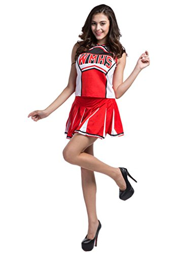 Makroyl Womens Cheerleader Costume Uniform Halloween Fancy Dress Cosplay Costume (Red, US 4-6)