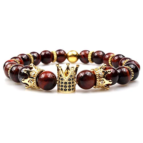 GVUSMIL Imperial Crown Bead Bracelet King&Queen Luxury Charm Couple Jewelry for Women Men (Red Tiger Eye)