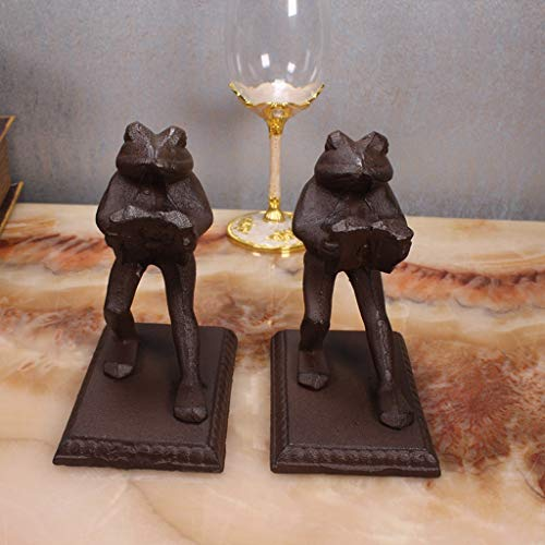 WCJ European Style Bookends Creative Frog Shape Book Folder Wrought Iron Retro Bookends ()