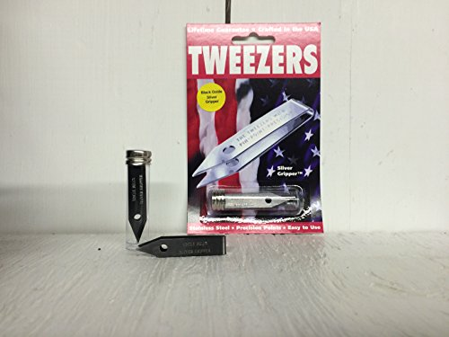 Sliver Gripper Black Oxide Uncle Bill's Tweezers in a Recloseable Tube by Sliver Gripper