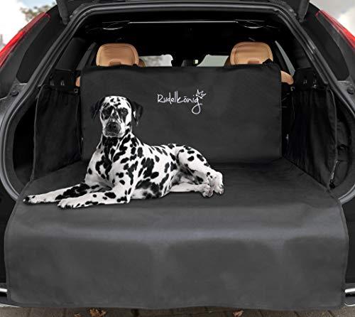 Rudelkönig Universal Kofferraumschutz mit Ladekantenschutz – wasserabweisend & pflegeleicht – Ideale Autodecke für Hunde – Schwarze Schondecke mit Kofferraumtasche