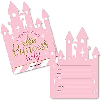 Amazon princess birthday party invitations fill in style 20 little princess crown shaped fill in invitations pink and gold princess baby shower or birthday party invitation cards with envelopes set of 12 stopboris Choice Image