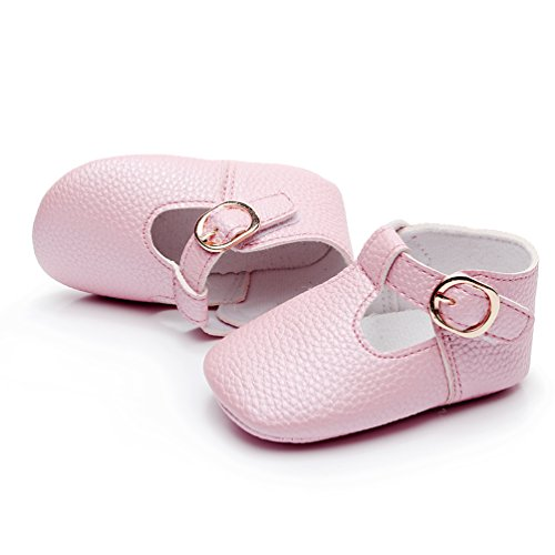 HONGTEYA Baby Girls Pure T-Strap Moccasins - Newborn First Walker Mary Jane PU Soft Soled Shoes (Size:6-12 Months/US 5/4.72''/See Size Chart, Light Pink)