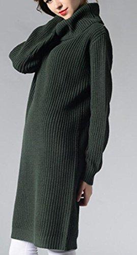 Verde Maglia Inverno Donne Nerastro Maglione Largo Domple Caldo Lavorato Da Dolcevita Partito A Vestito Taglio rzOrAR