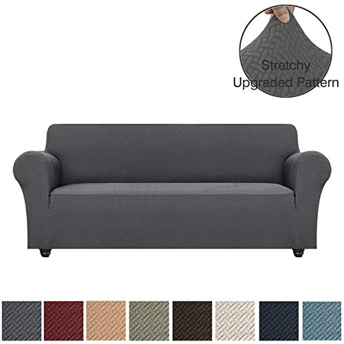 Obytex Stretch Sofa Cover Polyester and Spandex Upgrade Pattern Couch Covers Dog Cat Pet Slipcovers Furniture Protectors,Machine Washable (Sofa, Grey) (Sofa Sale Large Cushions For)