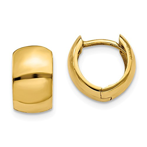 14K Yellow Gold Polished 7mm Round Hinged Huggie Earrings