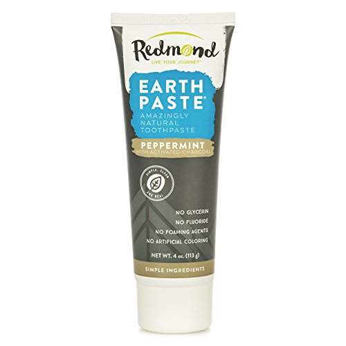 Redmond Earthpaste - Natural Non-Fluoride Toothpaste, Peppermint Charcoal, 4 Ounce Tube (1 Pack) Redmond Natural