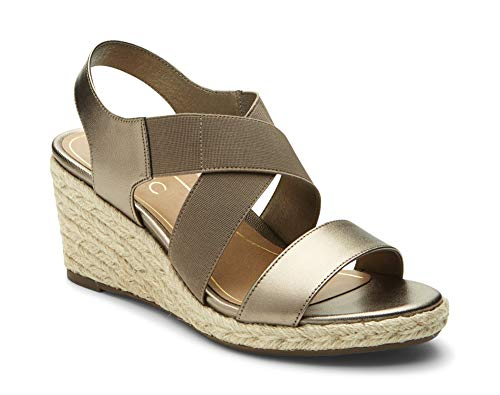 Vionic Women's Tulum Ainsleigh Backstrap Heels - Ladies Wedge Sandals with Concealed Orthotic Support - Dark Taupe 11W