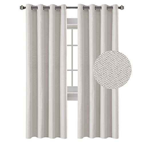 Linen Awning Solid (H.VERSAILTEX Classical Grommet Top Thermal Insulated Heavy Weight Textured Tiny Plaid Linen Look Innovated 85% Blackout Room Curtains, 52 by 84 Inch - Off White (Set of 2 Panels))