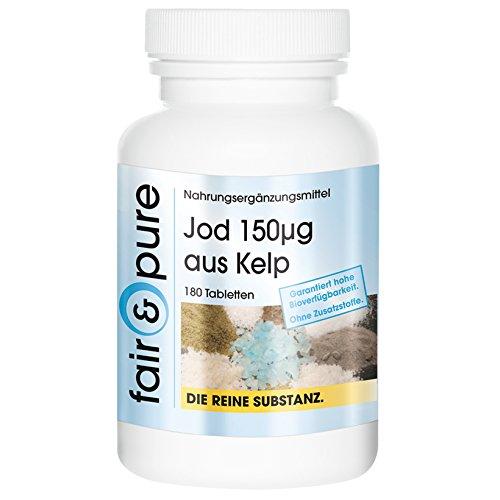 Jod 150µg aus Kelp, 180 Tabletten, Reinsubstanz, vegetarisch