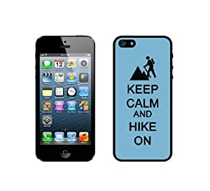 Keep Calm And Hike On - Aqua - Protective Designer BLACK Case - Fits Apple iphone 5c