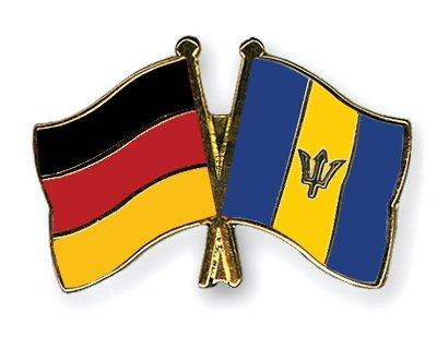 Barbade Allemagne & amitié drapeaux Plaqué Or-Gifts Épinglette émaillée