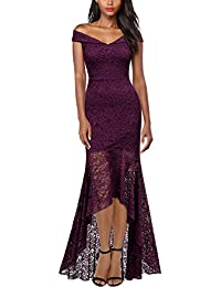 Womens Vintage Off Shoulder Floral Lace Evening Cocktail Maxi Dress