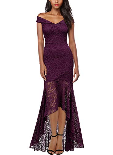 Miusol Women's Vintage Off Shoulder Floral Lace Evening Cocktail Maxi Dress,Large,B-Magenta