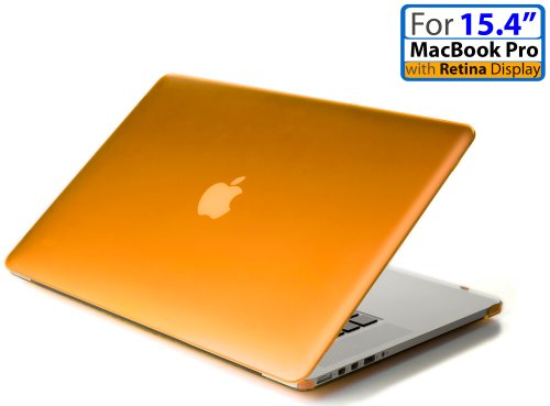 mCover iPearl Hard Shell Case with FREE keyboard cover for 15-inch Model A1398 MacBook Pro (with 15.4-inch Retina Display, with or without Force Touch Trackpad) - ORANGE