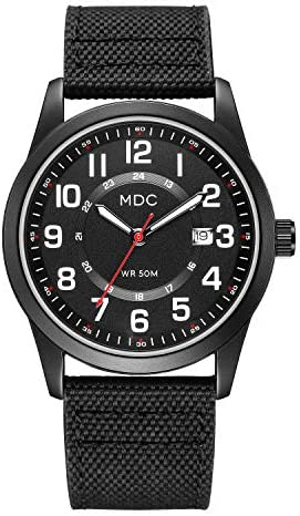 Black Military Analog Wrist Watches for Men, Mens Army Field Tactical Sport Watch Work Watch, Waterproof Outdoor Casual Quartz Wristwatch – Imported Japanese Movement, 5ATM Waterproof