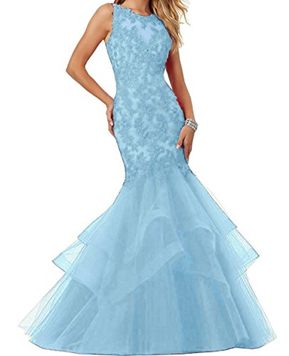 Dresses Prom Applique Evening EL189 Ellenhouse Tulle Women's Blue Mermaid Ice Party Long CXB84g