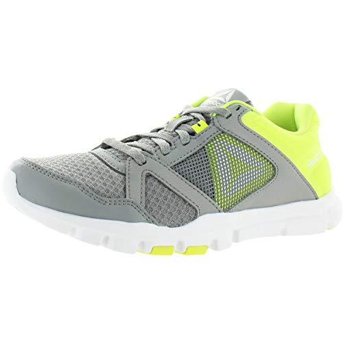 Reebok Women's Yourflex Trainette 10 Mt Cross Trainer, tin Grey/Solar Yellow/White, 8 M US